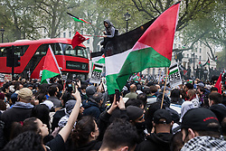 Thousands of people attend an emergency rally in solidarity with the Palestinian people organised outside Downing Street by Palestine Solidarity Campaign, Friends of Al Aqsa, Stop The War Coalition and Palestinian Forum in Britain on 11th May 2021 in London, United Kingdom. The rally took place in protest against Israeli air raids on Gaza, the deployment of Israeli forces against worshippers at the Al-Aqsa mosque during Ramadan and attempts to forcibly displace Palestinian families from the Sheikh Jarrah neighbourhood of East Jerusalem.
