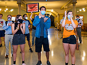 15 JUNE 2020 - DES MOINES, IOWA: Supporters of Black Lives Matter protest against Iowa Governor Kim Reynolds in front of the Governor's office in the Iowa capitol in Des Moines. About 75 supporters of Black Lives Matter marched through the Iowa capitol Monday to demand the restoration of voting rights for felons who have completed their sentences. Iowa is one of only two states in the US that permanently strip felons of voting rights. The issue is a  racial one in Iowa. Blacks make up only 4 percent of the population but 25 percent of the prison population. The Governor agreed to meet with a delegation of the protesters but she would not commit to immediately restoring voting rights. She said would draft an executive order to restore voting rights later in the summer.      PHOTO BY JACK KURTZ