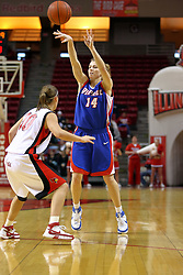 25 November 2007: Allie Quigley passes over Kristi Cirone. The DePaul Blue Demons defeated the Illinois State Redbirds 80-75 on Doug Collins Court at Redbird Arena in Normal Illinois