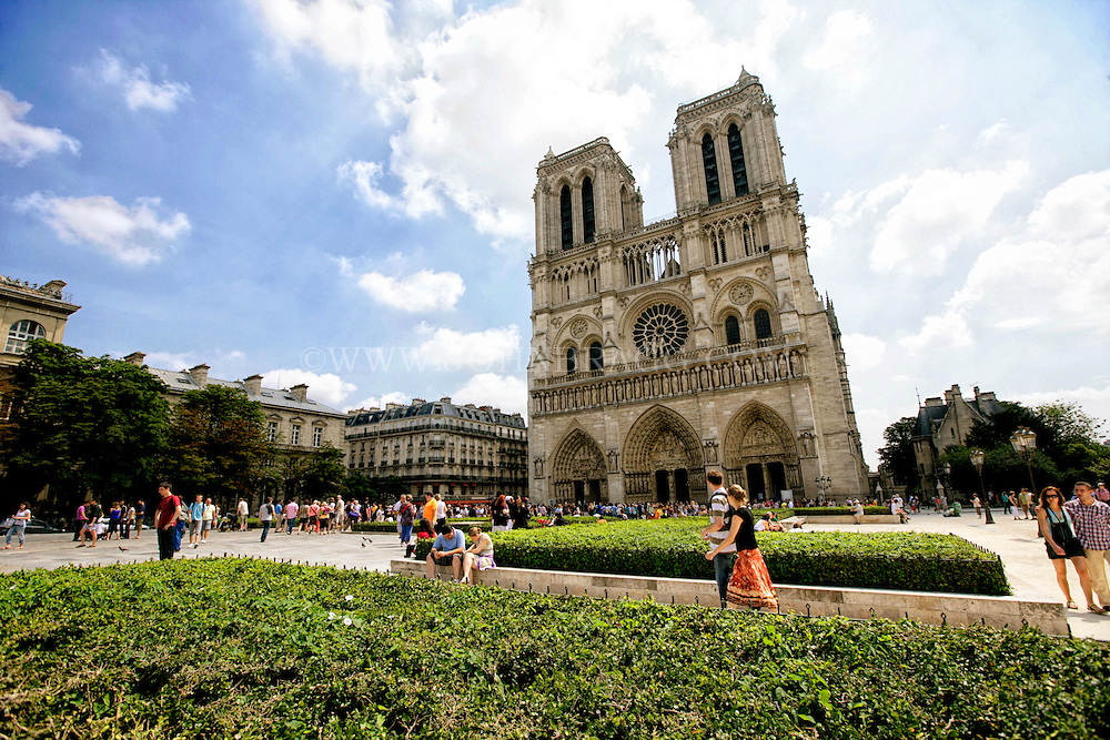 The West Facade of the Notre Dame Cathedral, Paris, France (Horizontal).