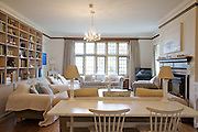 The Bakers' living room, Pickwell Manor, Georgeham, North Devon, UK.<br /> CREDIT: Vanessa Berberian for The Wall Street Journal<br /> HOUSESHARE