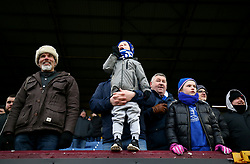 Everton fans in the stands during the Premier League match at Turf Moor, Burnley.