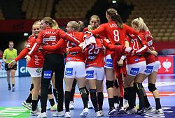HERNING, DENMARK - DECEMBER 4: Danish celebration after the EHF Euro 2020 Group A match between Denmark and Slovenia in Jyske Bank Boxen, Herning, Denmark on December 4, 2020. Photo Credit: Allan Jensen/EVENTMEDIA.