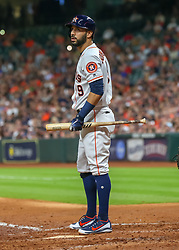 April 30, 2018 - Houston, TX, U.S. - HOUSTON, TX - APRIL 30:  Houston Astros second baseman Marwin Gonzalez (9) reacts after striking out during the baseball game between the New York Yankees and Houston Astros on April 30, 2018 at Minute Maid Park in Houston, Texas.  (Photo by Leslie Plaza Johnson/Icon Sportswire) (Credit Image: © Leslie Plaza Johnson/Icon SMI via ZUMA Press)