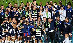 Bristol Rugby celebrate winning the Greene King IPA Championship Play Off FINAL by lifting the trophy - Mandatory byline: Robbie Stephenson/JMP - 25/05/2016 - RUGBY UNION - Ashton Gate Stadium - Bristol, England - Bristol Rugby v Doncaster Knights - Greene King IPA Championship Play Off FINAL 2nd Leg.