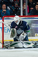 KELOWNA, BC - JANUARY 30: Roddy Ross #1 of the Seattle Thunderbirds makes a save against the Kelowna Rockets at Prospera Place on January 30, 2019 in Kelowna, Canada. (Photo by Marissa Baecker/Getty Images)