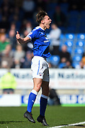 Chesterfield defender Sid Nelson (35) celebrates after scoring to make it 1-0 during the EFL Sky Bet League 2 match between Chesterfield and Notts County at the b2net stadium, Chesterfield, England on 25 March 2018. Picture by Jon Hobley.