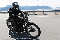 Todd Cameron riding his JDH Harley-Davidson hotrod in the  Motorcycle Cannonball coast to coast vintage run. Stage 13 (254 miles) Kalispell, MT to Spokane, WA. Friday September 21, 2018. Photography ©2018 Michael Lichter.