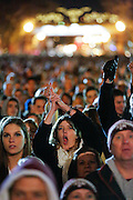 Thousands of Texas A&M Aggie fans fill Stockyards Station during the pre-Cotton Bowl midnight Aggie Yell practice in Fort Worth, Texas, on January 4, 2012.  (Stan Olszewski/The Dallas Morning News)