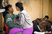 Actors relax backstage during rehearsals for the Merchants of Bollywood in the Yash Raj Studios in Mumbai (Bombay), India<br /> <br /> The Merchants of Bollywood, An Indian theatrical dance musical, charts the history of the world's largest and most prolific film industry, and is loosely based on the showbusiness, Merchant family. Seen by over two million people worldwide, the show is homage to the world of Indian cinema.