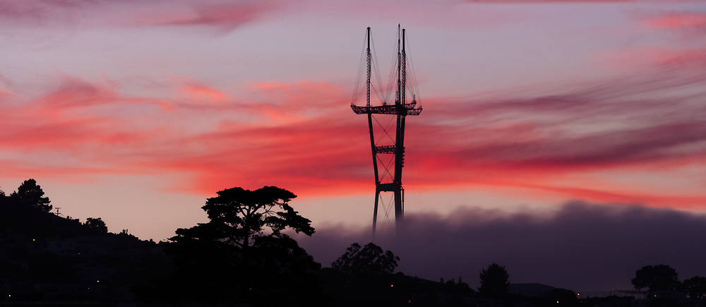 Sutro Tower is seen at Sunset. San Francisco, CA.