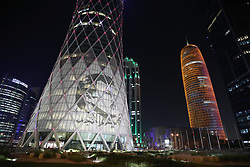 October 9, 2018 - Doha, Qatar - An image of Emir Sheikh Tamim bin Hamad al Thani on the outside of a tower in the West Bay area of Doha. (Credit Image: © Dominic Dudley/Pacific Press via ZUMA Wire)