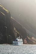 La Pinta Cruise ship anchored by Isabella island .Galapagos islands, Ecuador, South America