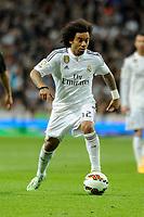 Real Madrid´s Marcelo Vieira during 2014-15 La Liga match between Real Madrid and Malaga at Santiago Bernabeu stadium in Madrid, Spain. April 18, 2015. (ALTERPHOTOS/Luis Fernandez)