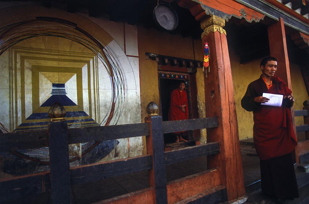 Buddhist Monks attend classes at Semtokha Dzong (monastery), outside Thimphu, Bhutan