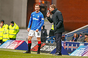 Rangers Manager Steven Gerrard  talks to Andy Halliday  during the Ladbrokes Scottish Premiership match between Rangers and Kilmarnock at Ibrox, Glasgow, Scotland on 16 March 2019.