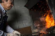 A knife is being made by Yoshikazu Ikeda Forged Knife Master Craftsman, Sakai, Osaka Prefecture, Japan