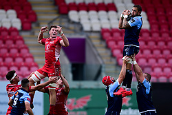 Guinness PRO14, Parc y Scarlets, Llanelli, UK 22/8/2020<br /> Scarlets v Cardiff Blues<br /> Josh Turnbull of Cardiff Blues wins the line out<br /> Mandatory Credit ©INPHO/Ryan Hiscott