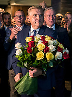 Bialystok, 21.10.2018. Wieczor wyborczy Koalicji Obywatelskiej. Wybory wg wstepnych sonadazy wygral w pierwszej turze Tadeusz Truskolaski ( 51% glosow ) obecny prezydent Bialegostoku, ktory pokonal Jacka Zalka ( 32% glosow ) N/z Tadeusz Truskolaski prezydent Bialegostoku fot Michal Kosc / AGENCJA WSCHOD
