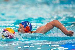 Robin Lindhout of the Netherlands in action against Croatia during the Olympic qualifying tournament. The Dutch water polo players are on the hunt for a starting ticket for the Olympic Games on February 15, 2021 in Rotterdam