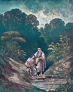 Machine colourized (AI) David and Jonathan 1 Samuel 20:42 From the book 'Bible Gallery' Illustrated by Gustave Dore with Memoir of Dore and Descriptive Letter-press by Talbot W. Chambers D.D. Published by Cassell & Company Limited in London and simultaneously by Mame in Tours, France in 1866