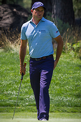 August 5, 2018 - Reno, Nevada, U.S - Sunday, August 5, 2018.SAM SAUNDERS, Arnold Palmer's grandson, reacts to a missed putt during the 2018 Barracuda Championship at the Montreux Golf & Country Club in Reno, Nevada...The Barracuda Championship Golf Tournament is one of only 47 stops on the PGA Tour worldwide, and has donated nearly $4 million to charity since 1999. Opened in 1997, the par-72 course was designed by Jack Nicklaus, plays at 7,472 yards (6,832 m) and its average elevation is 5,600 feet (1,710 m) above sea level...The Montrux Golf and Country Club is located midway between Reno and Lake Tahoe...The tournament champion, Andrew Putnam, received a check in the amount of $612,000. (Credit Image: © Tracy Barbutes via ZUMA Wire)