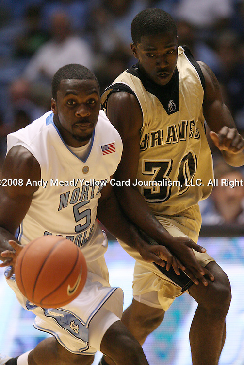 08 November 2008: North Carolina's Ty Lawson (5) and Pembroke's Marcus Heath (30). The University of North Carolina Tarheels defeated the University of North Carolina at Pembroke Braves 102-62 at the Dean E. Smith Center in Chapel Hill, NC in an NCAA exhibition basketball game.