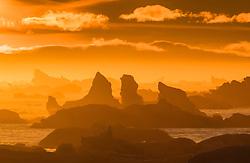 Drifting icebergs in Hilopen at sunset late September, Svalbard, Norway