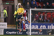 Middlesbrough forward David Nugent (35)  wins the header  during the Sky Bet Championship match between Rotherham United and Middlesbrough at the New York Stadium, Rotherham, England on 8 March 2016. Photo by Simon Davies.