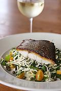 Grilled fish fillet on salad