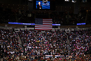 President Donald Trump addresses the crowd in support of Republican Senator Ted Cruz's midterm re-election campaign at the Toyota Center in Houston, Texas, U.S., October 22, 2018