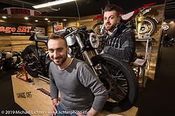 Simone Heglioli (L) and Riccardo Loschi of Garage SRT with a new custom Honda at Motor Bike Expo. Verona, Italy. Thursday January 18, 2018. Photography ©2018 Michael Lichter.