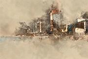 Digitally enhanced image of the Tel Aviv coastline. The Sheraton Hotel in the centre.