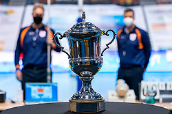 The cup during the last final league match between Draisma Dynamo vs. Amysoft Lycurgus on April 25, 2021 in Apeldoorn.