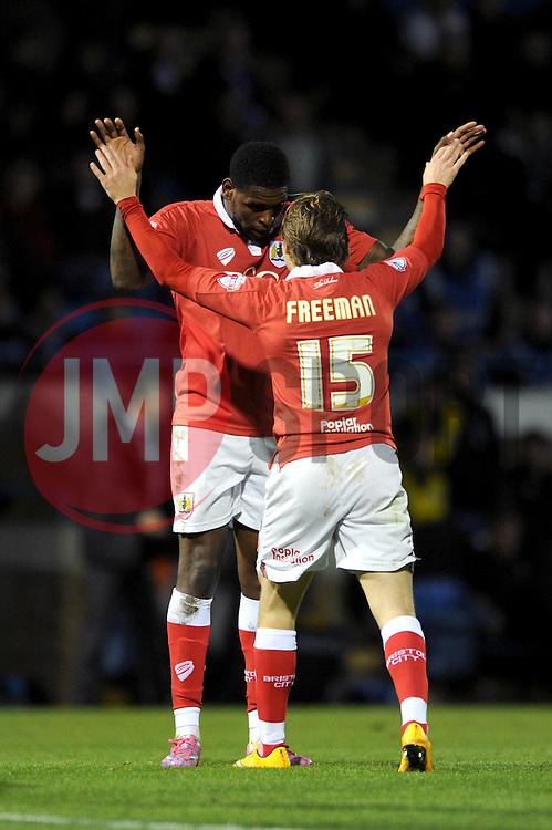 Bristol City's Jay Emmanuel-Thomas celebrates his goal with Bristol City's Luke Freeman - Photo mandatory by-line: Dougie Allward/JMP - Mobile: 07966 386802 - 08/11/2014 - SPORT - Football - Gillingham - Priestfield Stadium - Gillingham v Bristol City - FA Cup - Round One