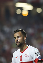 October 10, 2017 - Lisbon, Portugal - Switzerland's forward Haris Seferovic looks on during the FIFA 2018 World Cup Qualifier match between Portugal and Switzerland at the Luz Stadium on October 10, 2017 in Lisbon, Portugal. (Credit Image: © Carlos Costa/NurPhoto via ZUMA Press)