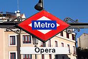 Metro station sign, Opera, Madrid city centre, Spain
