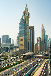 View along Sheikh Zayed Road in Dubai, United Arab Emirates, UAE