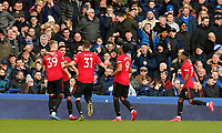 Football - 2019 / 2020 Premier League - Everton vs. Manchester United<br /> <br /> Bruno Fernandes of Manchester United celebrates after he scores to bring the sides level at 1-1, at Goodison Park.<br /> <br /> COLORSPORT/ALAN MARTIN