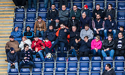 South stand fans with the ball. <br /> Falkirk 0 v 3 Hibernian, Scottish Championship game played at The Falkirk Stadium 2/5/2015.