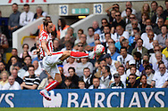 Marko Arnautovic of Stoke City controls the ball. Barclays Premier league match, Tottenham Hotspur v Stoke city at White Hart Lane in London on Saturday 15th August 2015.<br /> pic by John Patrick Fletcher, Andrew Orchard sports photography.