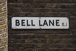 © Licensed to London News Pictures. 06/02/2016. London, UK. General view of  Bell Lane sign on 66-68 Bell Lane in Spitalfields, Tower Hamlets. Tracey Emin has submitted a planning application to demolish the building and replace it with a five-floor house connected to her studio. Heritage groups oppose the plans, claiming they are destructive and pose a threat to historic buildings in the conservation area. An appeal has been lodged by on behalf of Emin for a government planning inspector to have the final say. Photo credit : Vickie Flores/LNP
