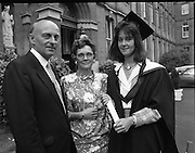 Graduations At Carysfort College.  (R84)..1988..24.07.1988..07.24.1988..24th July 1988..Today at Carysfort College saw the final conferring of degrees on the students in the teacher training programme. The college in Blackrock, Dublin trains students to become primary school teachers after a three year course and is under the control of the Department of Education...Picture shows Marie Therese Roycroft with her parents Mr and Mrs John Roycroft , Cahir, Co Tipperary after the conferring ceremony.