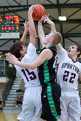 29 December 2017: State Farm Holiday Classic Coed Basketball Tournament at Normal Community High School in Normal IL<br /> <br /> SFHC - Small School Boys St. Joseph Ogden Spartans v Rock Falls Rockets