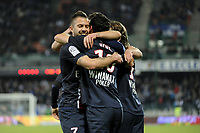 FOOTBALL - FRENCH CHAMPIONSHIP 2011/2012 - L1 - AJ AUXERRE v PARIS SAINT GERMAIN  - 15/04/2012 - PHOTO JEAN MARIE HERVIO / REGAMEDIA / DPPI - JOY PSG AFTER THE NENE'S GOAL