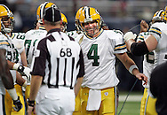 Green Bay Packers' Brett Favre after  his 7-yard slant pass to Donald Driver to broke the All-Time Leader in Career Passing Yards in the 3rd quarter. .The Green Bay Packers traveled to the Edward Jones Dome to play the St. Louis Rams Sunday December 16, 2007. Steve Apps-State Journal.