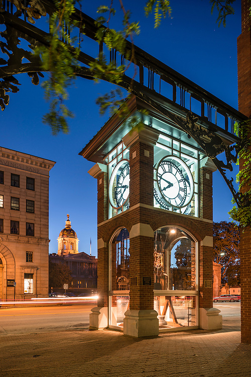 Clock tower on Main Street with NH State House dome in background, Eagle Square, Concord, NH