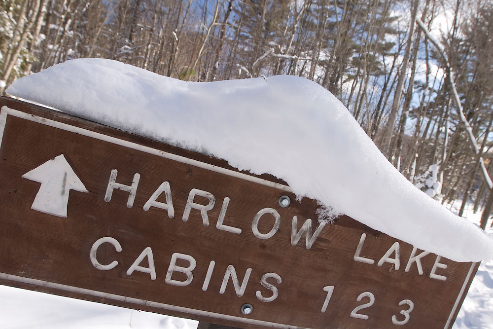 Signs for the Harlow Lake Cabins near Marquette Michigan Upper Peninsula.