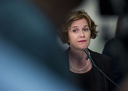 July 18, 2017 - Minneapolis, MN, USA - Mayor Betsy Hodges addresses the latest developments in the death of Justine Damond, in Minneapolis on Tuesday, July 18, 2017. (Credit Image: © Richard Tsong-Taatarii/TNS via ZUMA Wire)