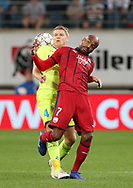 Sigurd Rosted (Gent) and Jimmy Briand (Bordeaux) fight for the ball during the first leg of the Uefa Europa League play-off match between Kaa Gent and Girondins de Bordeaux on August 23, 2018 in Ghent, Belgium, Photo Vincent Van Doornick / Isosport / Pro Shots / ProSportsImages / DPPI